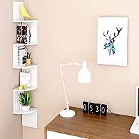 AllRight 5 Tier Wall Mounted ZigZag Corner Floating Shelf Unit Bookcase Storage Display Organizer White