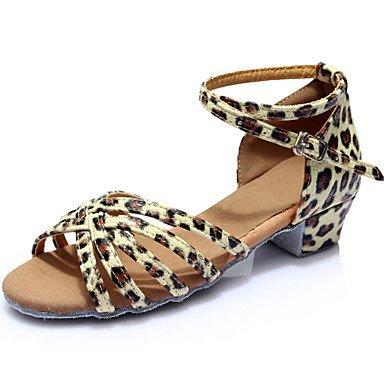 Silence @ pour femme fille Sandales pour enfants 'Chaussures de danse latine salle de bal/Salsa/Samba satiné/similicuir Talon Plat (Plus de Clore) Silver