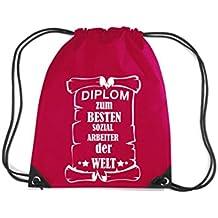 Camiseta stown Premium gymsac Diploma el mejor Social trabajador del Mundo, rojo