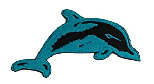Ecusson - dauphin animal enfants - bleu - 9.6x5.1cm - patches brode appliques embroidery thermocollant