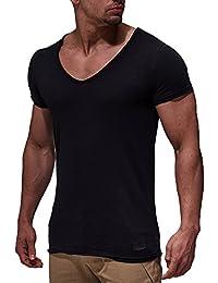 LEIF NELSON Herren oversize T-Shirt tiefer V-Ausschnitt Shirt Basic LN6280