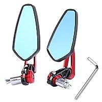 "Yizhet Universal Motorcycle Bar End Mirrors Rear View Handlebar CNC 7/8"" 22mm Aluminum Alloy Side Mirrors Handlebar End Mirrors - 1 Pair, Black (Red)"