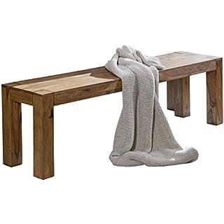 WOHNLING Esszimmer Sitzbank Massiv-Holz Sheesham 120 x 45 x 35 cm Design Holz-Bank Natur-Produkt Küchenbank Landhaus-Stil dunkel-braun Bank 3-Sitzer für innen ohne Rücken-Lehne Echt-Holz unbehandelt