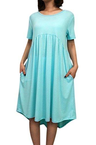 YACUN Donne Le Maniche Corte Maglietta Casual Estiva Alto Basso Vestito Di Tunica Blue
