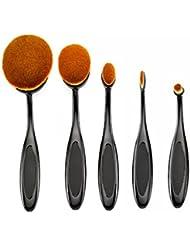 Beauté Kingdom Set de pinceaux à maquillage 5pièces Pro Pinceau Fond de Teint de poudre blush Outil de Maquillage Brosse à dents design Curve noir