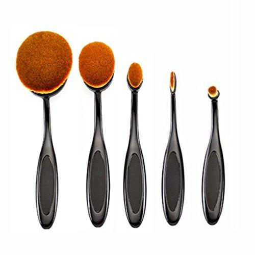 Beauté Kingdom Set de pinceaux à maquillage 5 pièces Pro Pinceau Fond de Teint de poudre blush Outil de Maquillage Brosse à dents design Curve noir