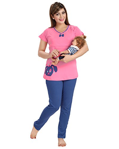AV2 Women Cotton Printed Feeding/Nursing/Maternity Top & Pyjama Set