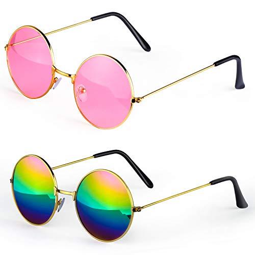 Haichen Hippie Retro Sonnenbrille 60er Jahre John Lennon Style runde farbige Brille Kostümzubehör (A)