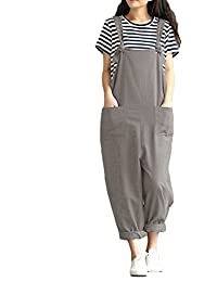 2881404e20 ZANZEA Women s Retro Loose Casual Baggy Sleeveless Overall Long Jumpsuit  Playsuit Trousers Pants Dungarees