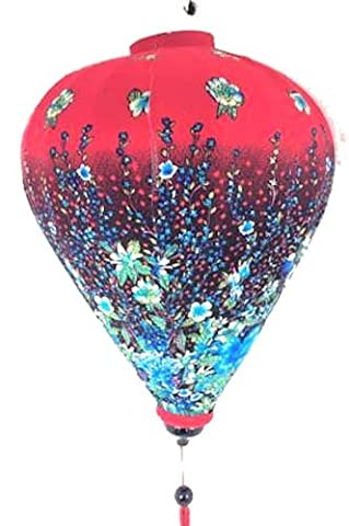 VIETNAMESE ORIENTAL FLORAL SILK BAMBOO HANDCRAFTED LANTERN LAMP chinese 53cm Red