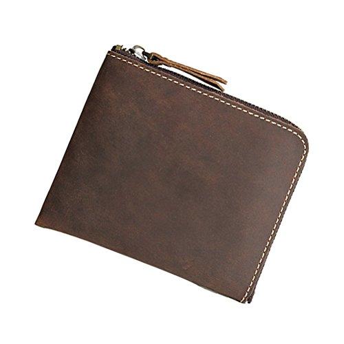 Münzen Geldbörse Tasche Fmeida Leder Tasche Geldwechsel Geldbörse für Herren Damen (Schwarz) dunkelbraun