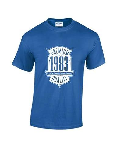 T-Shirt pour homme Inscription «Aged To Perfection Born In 1983» pour 33e anniversaire - Bleu - XX-Large