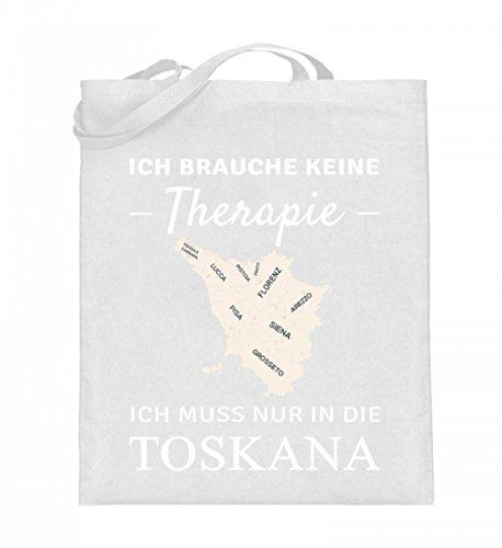 Hochwertiger Jutebeutel (mit langen Henkeln) - Toskana Therapie Weiß