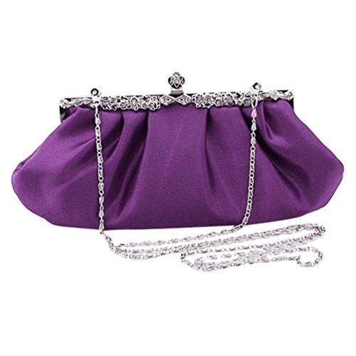 Vividda Femme Nouveau Vintage Pochette sac a main de soiree pour mariage multicolDorée Violet