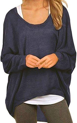 Meyison Damen Lose Asymmetrisch Sweatshirt Pullover Bluse Oberteile Oversized Tops T-Shirt Navy XL