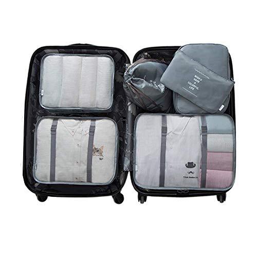 6 Set Kleidertaschen -4 Packwürfel + 1 Beutel + 1 Bündeltasche(Grey) -