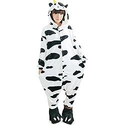Fayear Unisexe-Adulte Anime Pyjamas Flanelle Onesie Vêtements de Nuit Cosplay Déguisement pour Femmes et Hommes Vache,S
