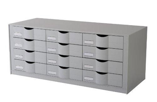 Fast Paper easyOffice Module de rangement-Réf EO9H4442.02 W860xD340xH350mm 12 tiroirs Gris