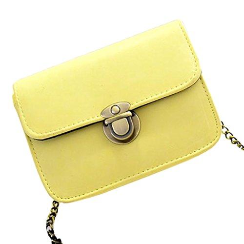 Vovotrade® Pelle Donna Satchel spalla Crossbody Bauletto Messenger giallo