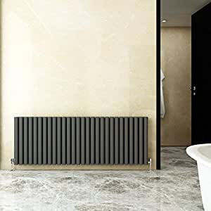 salon Radiateur de design /à colonne horizontale Anthracite 600 x 408 mm Double panneau faux panneau Moden /él/égant salle de bain cuisine chauffage central acier doux 1,5 mm