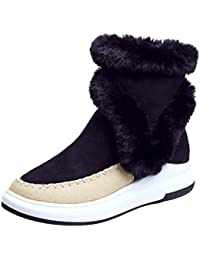 41feaeb797c Jitong Mujer Botines de Ante Calentar Forrado Piel Sintética Zapatos con  Cremallera Plataforma Botas de Nieve