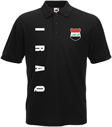Irak Iraq Polo-Shirt Trikot Wunschname Wunschnummer (Schwarz, L)