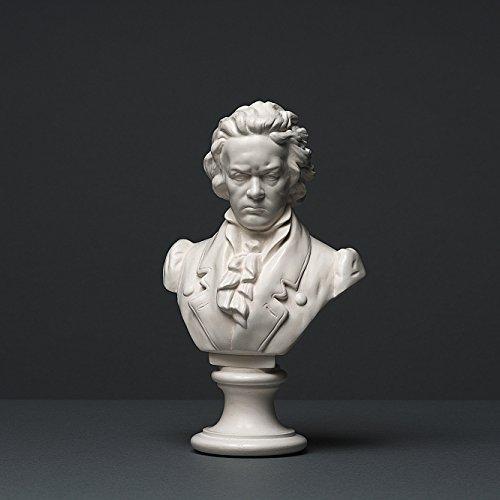Beethoven Skulptur aus hochwertigem Zellan, echte Handarbeit Made in Germany, Büste in weiß, 20cm
