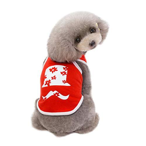 Hunde Football Kostüm - T.boys's Haustier  Pet T-Shirt Sleeveless Frühling Sommer Kreative Baumwolle Bart Muster Weste für Kleine,Mittlere Hunde Sommer Mantel Welpen Kostüme Outfit Teddy für den Sommer (XL, Rot)