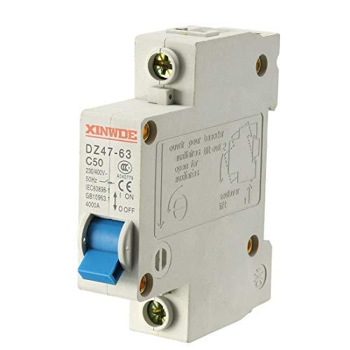 ZCHXD 1 Pole 50A 230/400V Low-voltage Miniature Circuit Breaker Din Rail Mount DZ47-63 C50 Din Mount Circuit Breaker