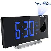 【Améliorée】 Mpow Radio Réveil à Projection FM avec 2 Réveils, Afficheur LED de 5 pouces avec Variateur, 5 Niveaux de Luminosité de l'écran, onction Snooze de 9 Minutes