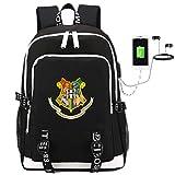 Comtervi Harry Potter Hogwarts Mochila de diseño, Mochila para portátil, Mochila Escolar, Mochila Unisex para niños, Camping, Exterior, con Puerto de Carga USB, Negro, 30 * 15 * 44cm