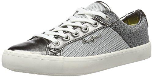 Pepe Jeans Clinton Mesh Silver, Sneakers Basses Femme, Argenté