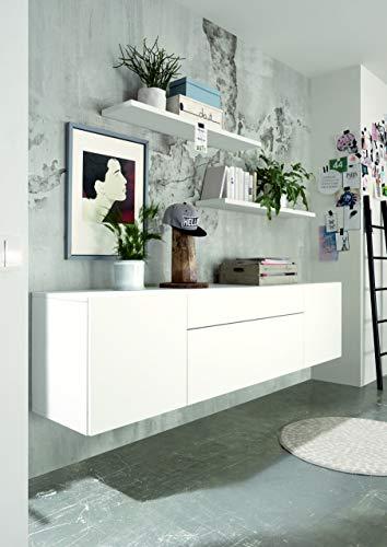 now! by hülsta for You, Wohnkombination Sideboard und Wandsteckborde, weiß