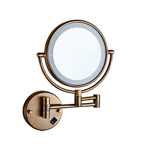 JXQ Le miroir de vanité de salle de bains a mené avec le miroir télescopique se pliant fixé au mur de miroir de beauté de beauté Miroir à double face de vanité de salle de bains, cuivre