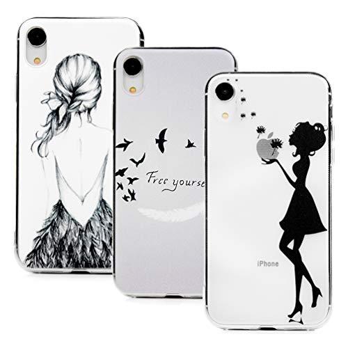 Hülle für iPhone XR, 3X Gemalt Handyhülle Case, Silikon Schale Schutzhülle Handytasche Crystal Clear Durchsichtig Cover in Zurück + Feder Vogel + Löwenzahn Mädchen