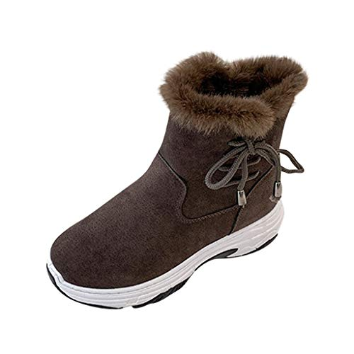 GNYD Damen Boots Winter rutschfest Stiefeletten Leder Frauen Winter Sichern Cross Lace Zip Winter Plattformen Warm PlüSch Ankle Snow Boots