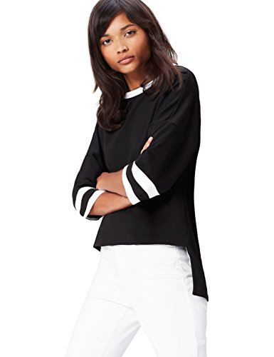 find. Sweatshirt Damen mit Sportstreifen und 3/4-Ärmeln Schwarz (Black/ivory), 34 (Herstellergröße: X-Small)