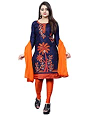 Women's French Crepe Cotton Unstitched Embroidery Dress Material with Dupatta (Cream)