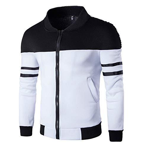 Motto 80's Best Kostüm - POPLY Herren Sweatjacke Patchwork Jacke mit Reißverschluss Mode für Männer Zweifarbige Nähte Sportbekleidung Herbst Winter Reißverschluss Langarm Mantel Sportswear (Schwarz,M)