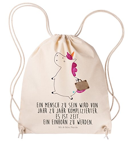 Mr. & Mrs. Panda Sportbeutel Einhorn Koffer - 100% handmade in Norddeutschland - Einhorn, unicorn, Einhörner, Koffer, Verreisen, Reise, Gepäck, Abenteuer, Erwachsen, Kind, albern, Spaß, lustig, witzig, Sportbeutel, Gymsack, Hipster, Turnbeutel, Jutebeutel, Sporttasche, Tasche, Tragetasche (Abenteuer Reise-gepäck)