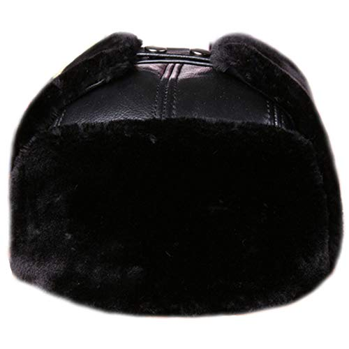 Hüte, Mützen & Caps CHENGGUO Klassische Winter-Fliegermütze für Männer und Frauen, warme Kunstpelzpilot-Kavallerie-Beobachter-Jagdmütze, russische Unisex-Kappe (Farbe : SCHWARZ, größe : L)