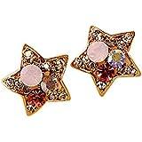 LUFA Moda incrustaciones de imitación de oro de cinco puntas de diamantes Estrella Pendientes de joyería para las mujeres