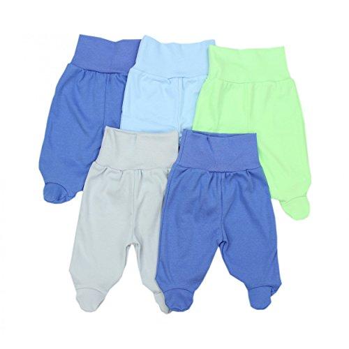 5er Set Baby Strampelhose Babyhose mit Fuß und breitem Bund Strampler Mädchen Stramplerhose Junge, Farbe: Junge 2, Größe: (Grüner Strampler)