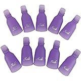 10 Uñas De Arte Plástico Empapa Del Clip De Cápsula De Gel UV Herramienta De Envoltura Removedor De Esmalte De Color Púrpura