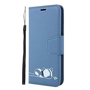 FNBK Kompatibel mit Huawei Y6 2019 Hülle Einfarbig Kleine Demi Prägung Flip Case Bracket-Funktion Kartensteckplatz Metallkettenstreifen Handyhülle Cover Blauer See
