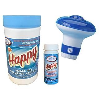 Happy Hot Tubs 1kg Chlorine Tablets +50 Happy Test Strips + Dispenser Hot Tub Starter Kit