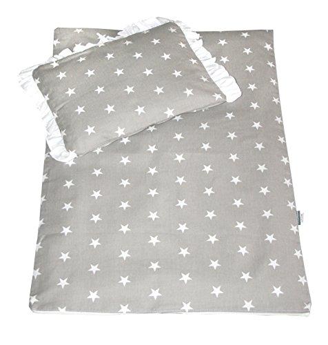 Rawstyle 4 tlg. Babybettwäsche Set Garnitur Kinderbettwäsche Bettwäsche **Decke + Kissen + Füllung** (Hellgrau + Sterne Weiß)