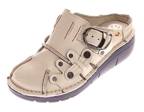 TMA Damen Leder Clogs Schuhe Weiß Used Look Slipper echt Leder Comfort Sandalen Gr. 42