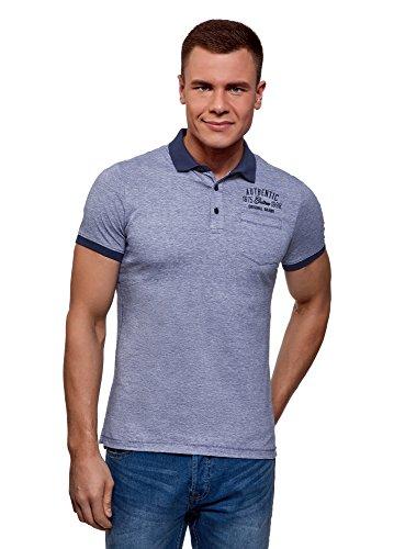 oodji Ultra Herren Poloshirt mit Kontrastbesatz und Brusttasche, Blau, DE 58-60 / XXL