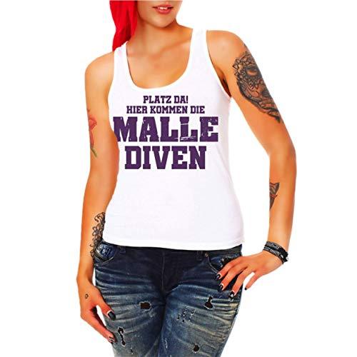 Spaß kostet Frauen und Damen Trägershirt Mallorca Platz da Hier kommen die Malle DIVEN Tour 2019 (mit Rückendruck) Größe XS - 3XL